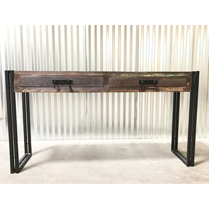 Old Reclaimed Wood Console Table With Metal Legs