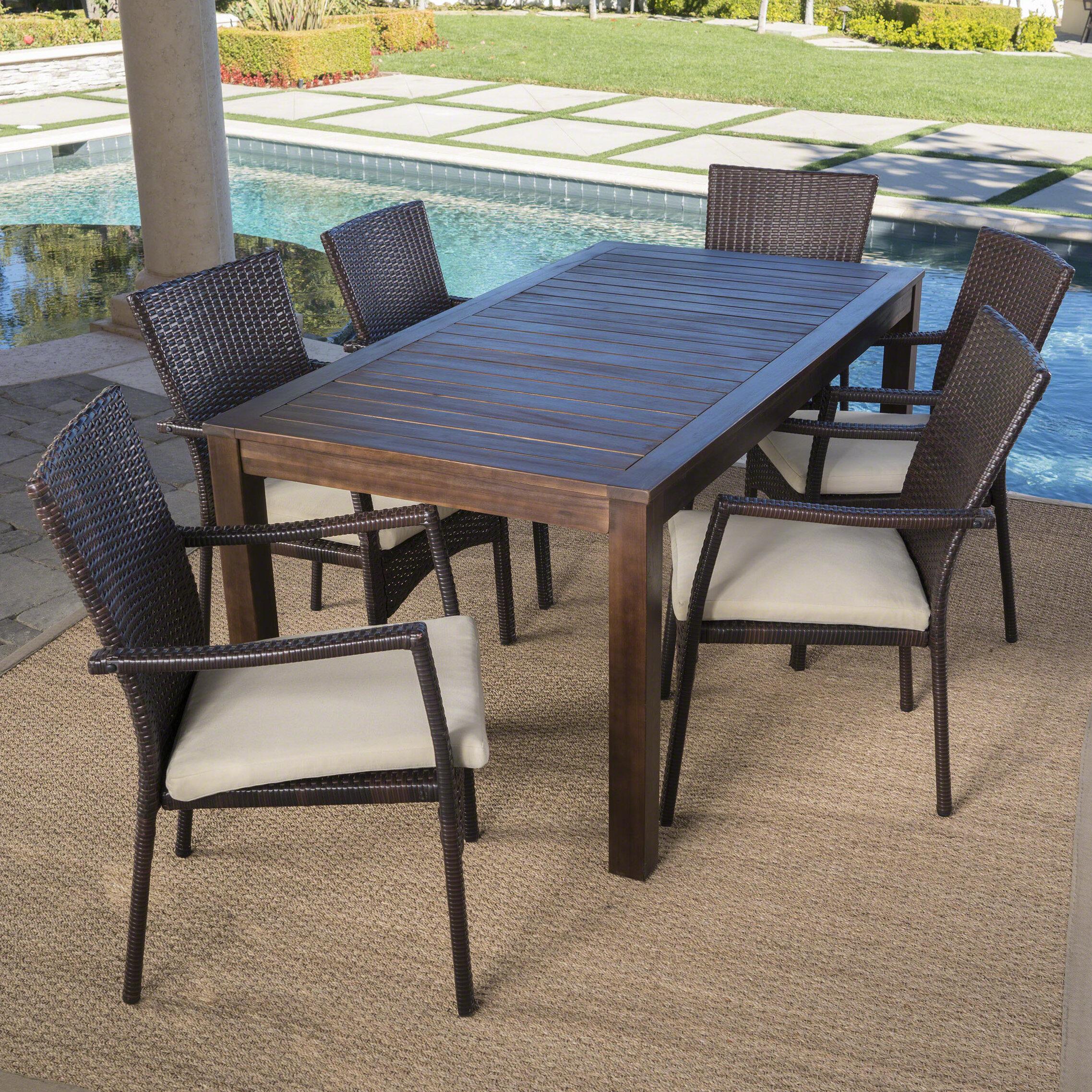 Charlton Home Avenir Outdoor Wood Wicker 7 Piece Dining Set With Cushions Reviews Wayfair