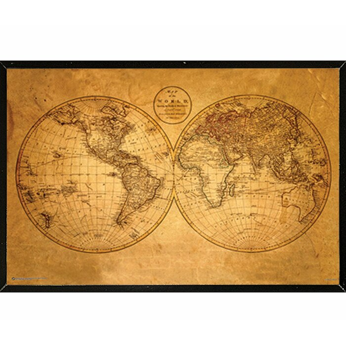 'Old World Map' Framed Graphic Art Print, Poster on maps in text, maps in art, maps in home, maps in paintings, maps in paper, maps in wood,
