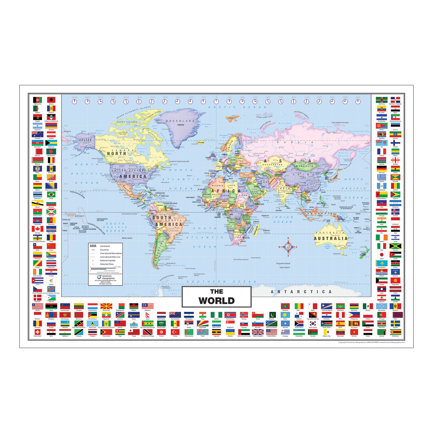 Picture of: American Geographics World Map With State Flags 24 X 36 Wayfair