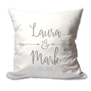 Wicksham Personalized Couples Names with Arrows Throw Pillow