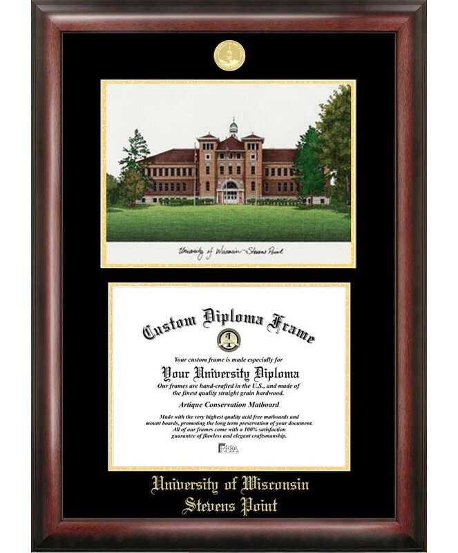 Campus Images Ncaa Wisconsin Stevens Point Pointers Gold Embossed Diploma With Campus Images Lithograph Frame Wayfair