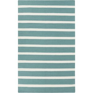 Kramer Ivory/Teal Green Striped Area Rug