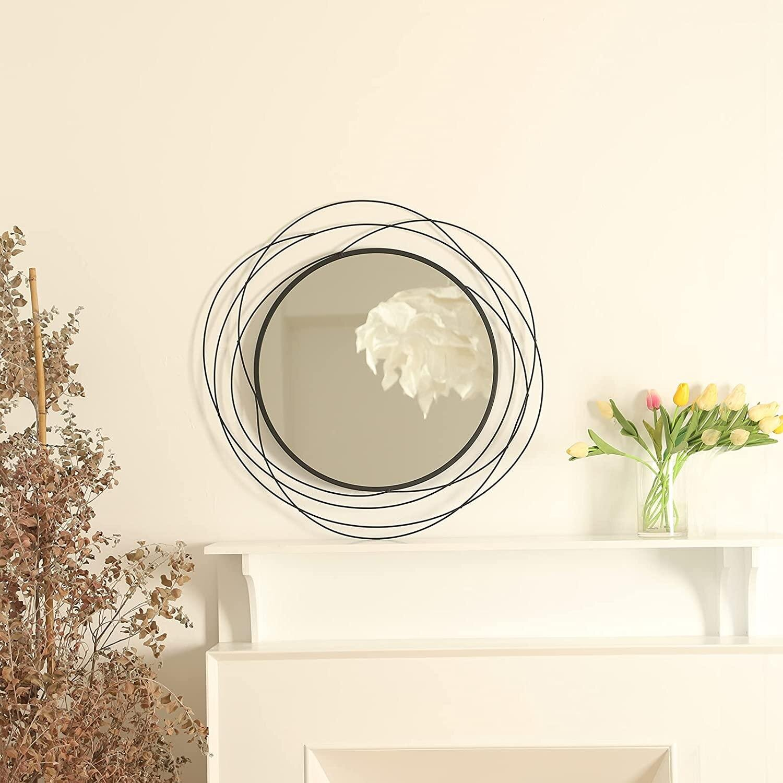 Brayden Studio Wall Mirror Mounted Round Decorative Mirrors Circle For Bathroom Vanity Living Room Or Bedroom 26 8 X26 8 Black Wayfair