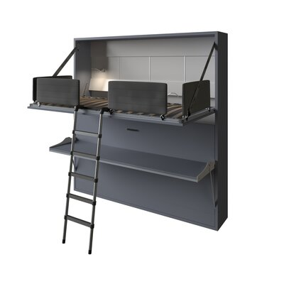 Brayden Studio Gerry Twin Over Twin Murphy Bed Color: Silver