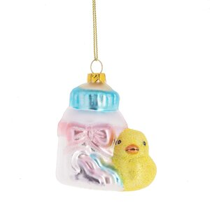 Baby Bottle with Duck Hanging Figurine