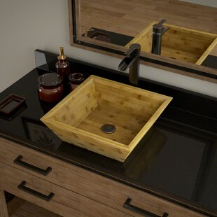 Inexpensive Bamboo Square Vessel Bathroom Sink with Faucet By MR Direct