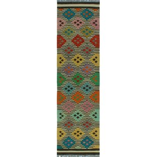 Best Reviews One-of-a-Kind Renita Kilim Hand-Woven Wool Black/White Area Rug By Isabelline