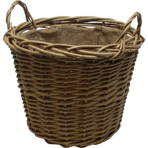 Round Wild Willow Lined Log Basket