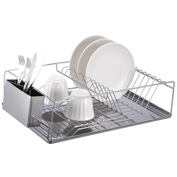 Home Basics Dish Rack Chrome Stainless Steel Tray