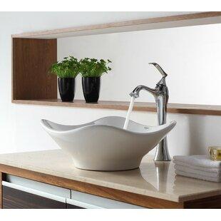 Savings Bathroom Combos Ceramic Specialty Vessel Bathroom Sink with Faucet By Kraus
