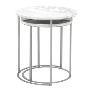 Gurdon Marble Top Round 2 Piece Nesting Tables (Set of 2) by Everly Quinn