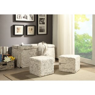 Ophelia & Co. Kettner 3 Piece Storage Bench and Ottoman Set (Set of 3)