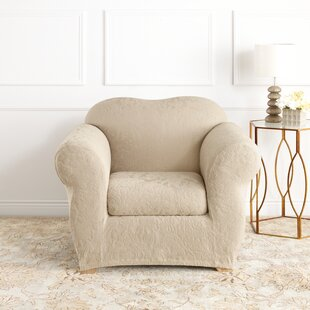 Stretch Jacquard Damask Box Cushion Armchair Slipcover