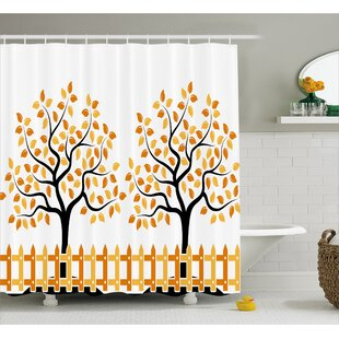 Burnham House Fall Autumn Trees Single Shower Curtain