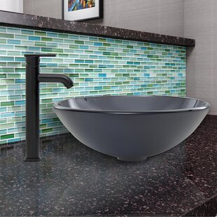 Sheer Glass Circular Vessel Bathroom Sink with Faucet