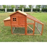 Fir Wood Hutch Chicken Coop with Roosting Bar and Chicken Run