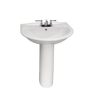 Karla Lavatory Vitreous China Pedestal Bathroom Sink with Overflow Barclay