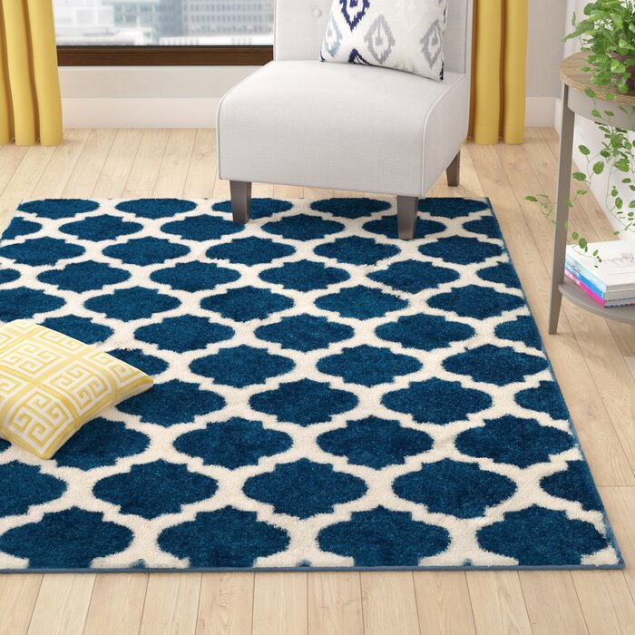Rubino Polypropylene Denim Blue Area Rug