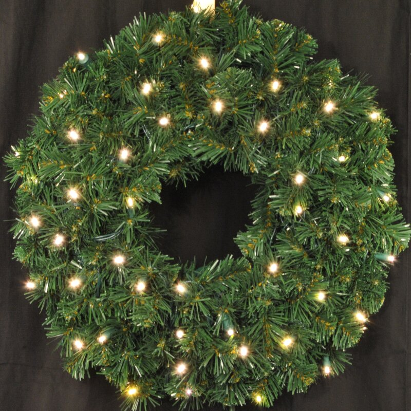 Queens of Christmas Pre-Lit Battery Operated LED Sequoia Wreath & Reviews |  Wayfair - Queens Of Christmas Pre-Lit Battery Operated LED Sequoia Wreath