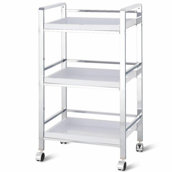 3 Tier Trolley Storage Lockable Wheels Kitchen Bathroom Utility Cart