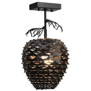 Meyda Tiffany Stoneycreek Pinecone 1-Light Semi Flush Mount