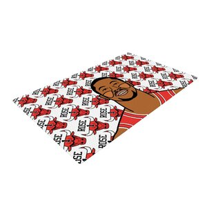 Will Wild Derrick Rose Basketball White/Red Area Rug