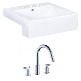 Where buy  Xena Farmhouse Semi-Recessed Ceramic Rectangular Vessel Bathroom Sink with Faucet and Overflow ByRoyal Purple Bath Kitchen
