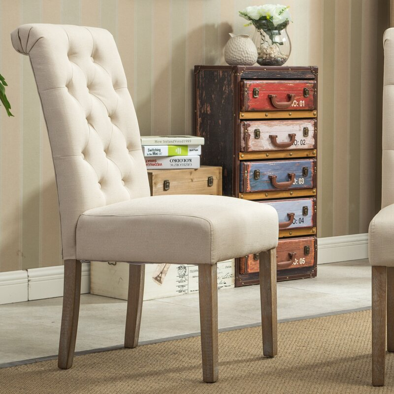 Kenleigh Solid Wood Button Tufted Side Chair