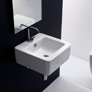 WS Bath Collections Kerasan Ceramic Square Vessel Bathroom Sink with Overflow