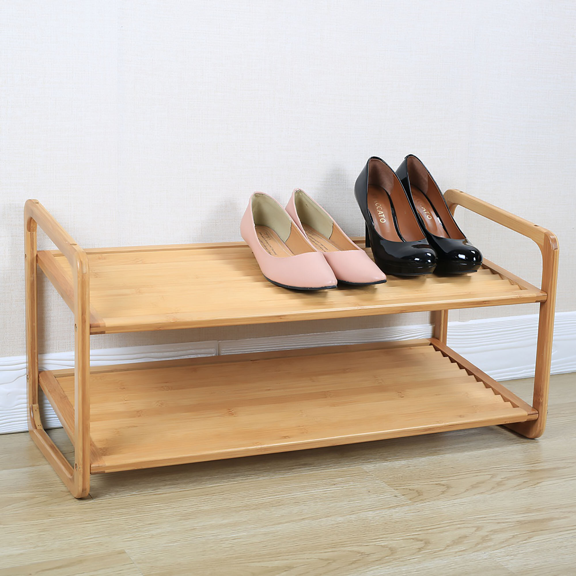 Rebrilliant 2-Tier Bamboo 8 Pair Shoe Rack BI164353 recommendations
