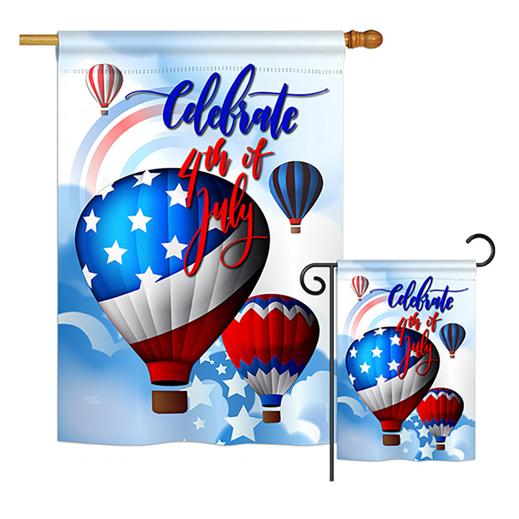Breeze Decor July 4th Hot Air Balloon Americana Fourth Of Impressions 2 Sided Polyester 2 Piece Flag Set Wayfair