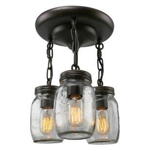 LNC Home Mason Jar 3-Light Semi Flush Mount