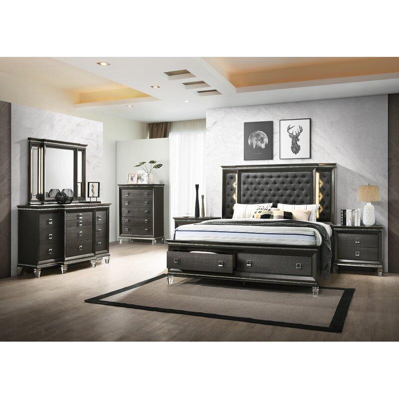 Rosdorf Park Oakgrove Upholstered Platform 5 Piece Bedroom ...