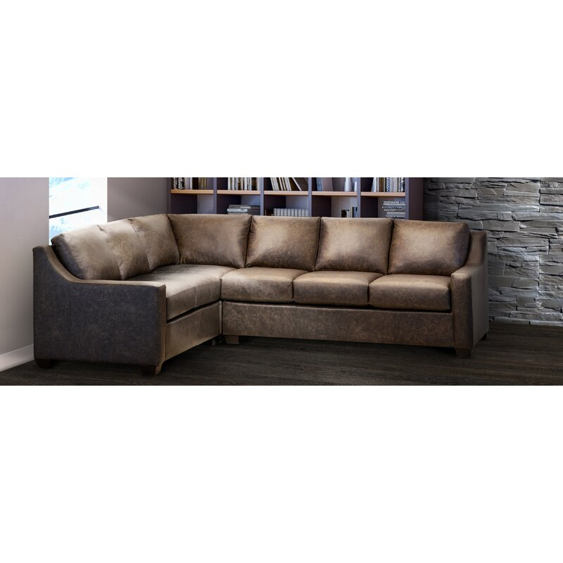 Ebern Designs Godinne 117 Wide Genuine Leather Corner Sectional Wayfair