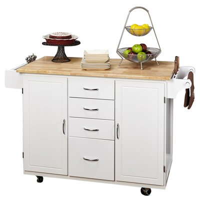 Harwick Kitchen Island with Wooden Top by Alcott Hill