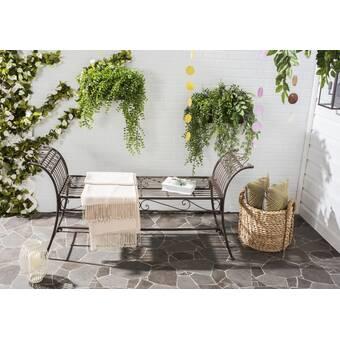 August Grove Alfheim Metal Garden Bench Reviews Wayfair