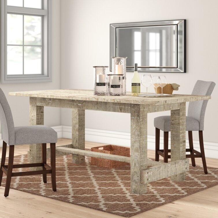 Three Posts Clintwood Counter Height Solid Wood Trestle Dining Table Reviews Wayfair