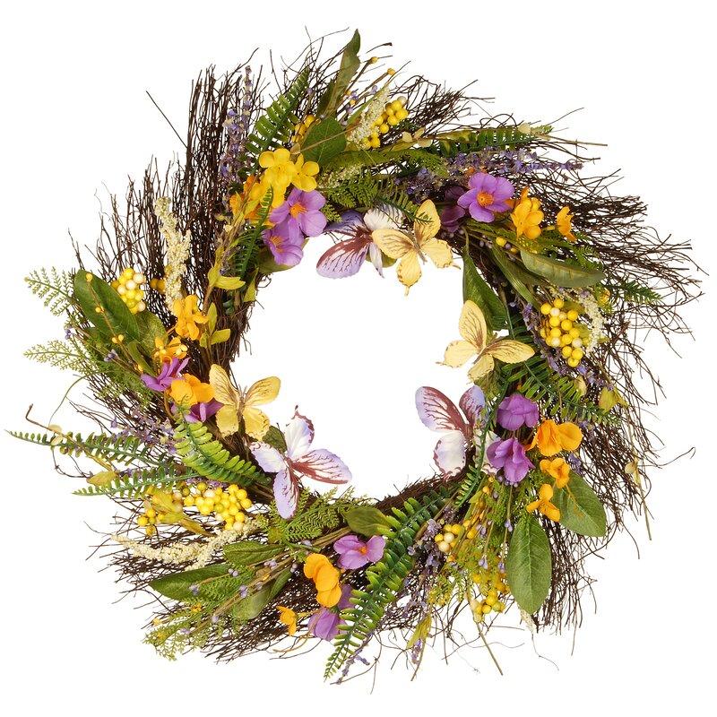 Door Wreaths Daisy Wreath Summer Wreath,Spring Wreath,Farmhouse Wreath Poppy Wreath Wreath Spring Daisies Orange Poppy Cottage Wreath