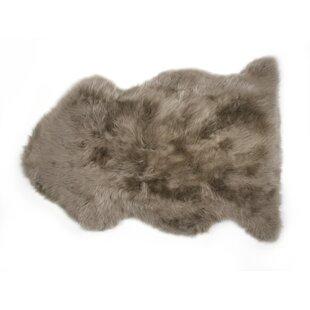 Handwoven Sheepskin Brown Rug by Fibre Auskin