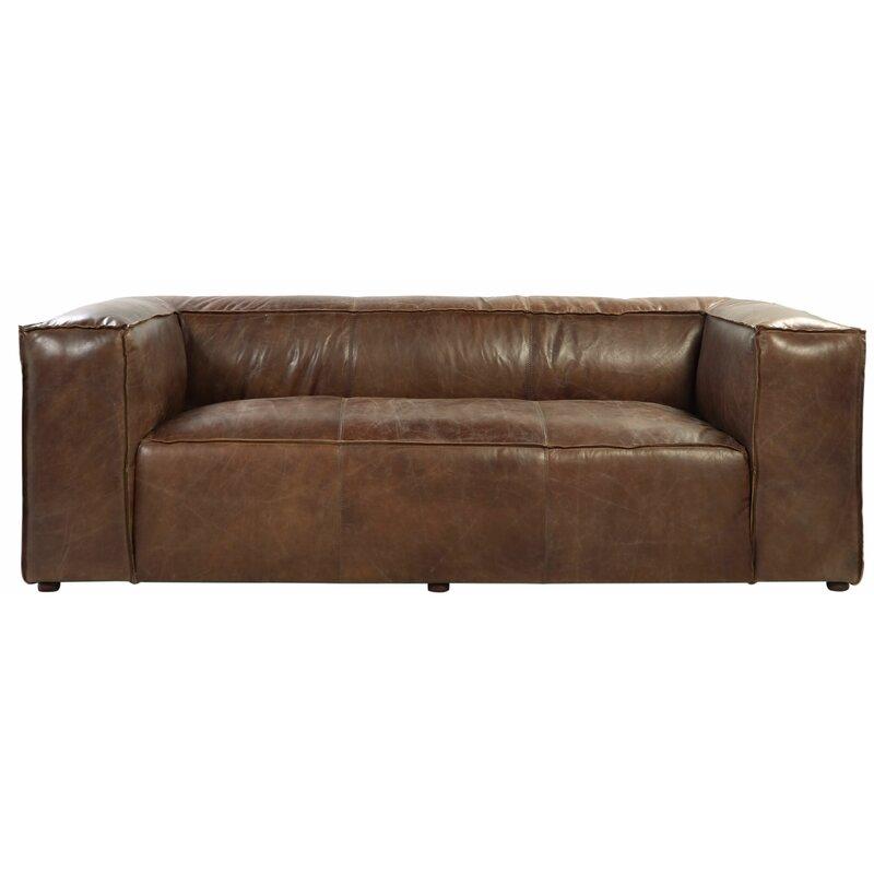 17 Stories Regina Leather Sofa Wayfair