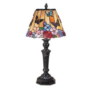 Paquette Butterfly/Peony Tiffany 24 Table Lamp