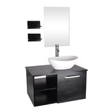 Gertraud 28'' Wall-Mounted Single Bathroom Vanity Set with Mirror by Orren Ellis