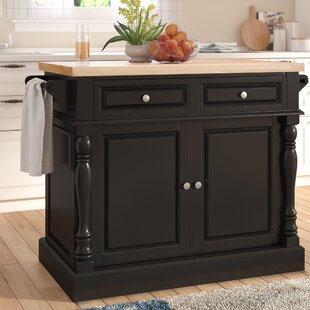 Haslingden Kitchen Island with Butcher Block Top Three Posts