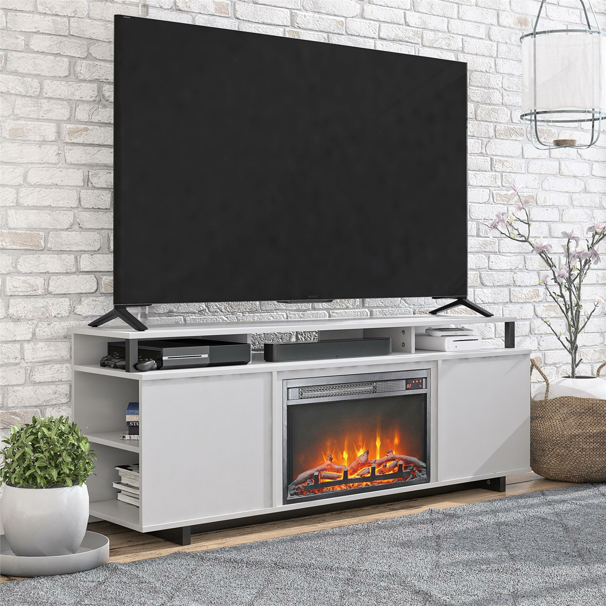 Zipcode Design Wolla Tv Stand For Tvs Up To 65 With Fireplace Included Reviews Wayfair