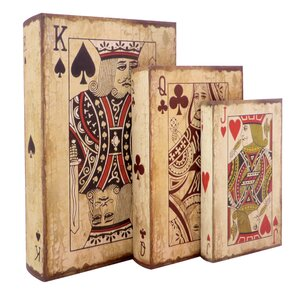 Playing Cards Storage Wood 3 Piece Decorative Box Set
