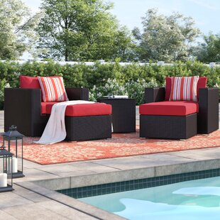 Brentwood 5 Piece Rattan Conversation Set with Cushions