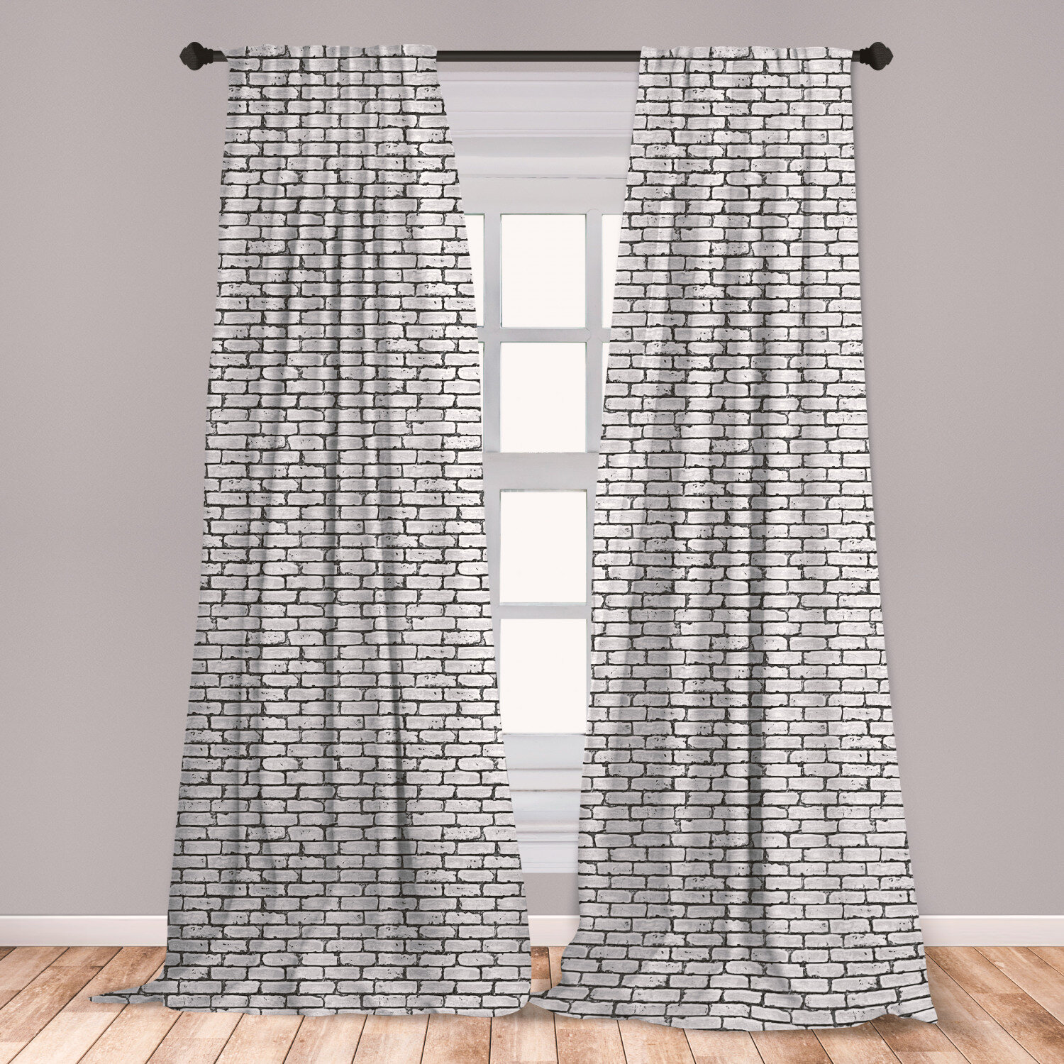East Urban Home Ambesonne Grey And White Curtains Grunge Brick Wall Background Urban Architecture Building Modern City Life Graphic Window Treatments 2 Panel Set For Living Room Bedroom Decor 56 X 63