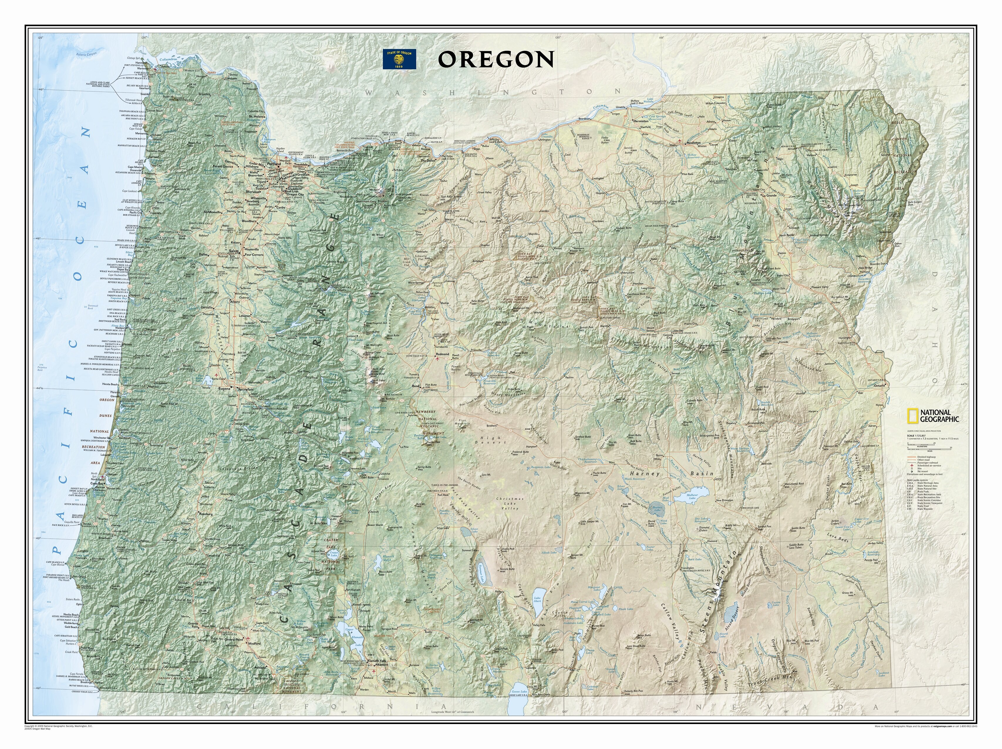 oregon state map National Geographic Maps Oregon State Wall Map Wayfair oregon state map