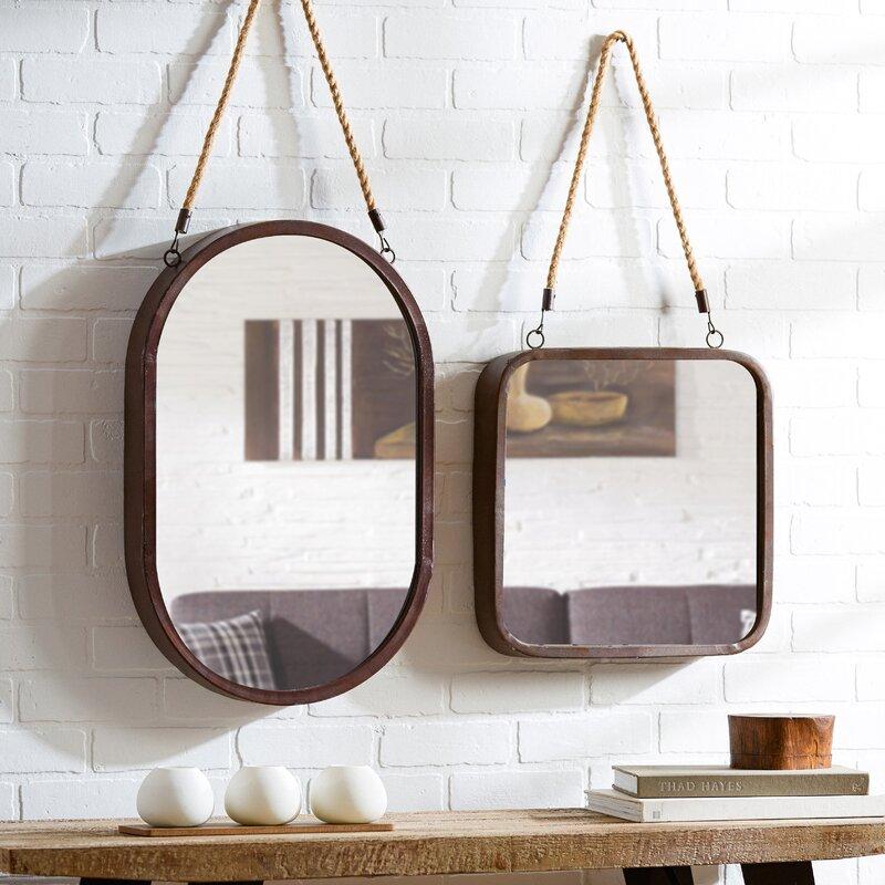 mercury row hanging rope wall mirror reviews wayfair